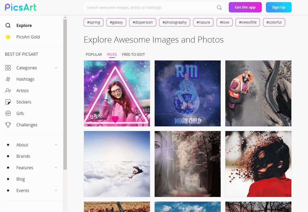 Приложение онлайн-редактор PicsArt